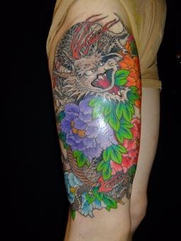 龍と牡丹 Peony flower and Dragon
