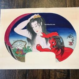 金太郎 山姥 団扇絵 Kintaro and yamanba