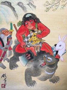kintaro riding on a bear