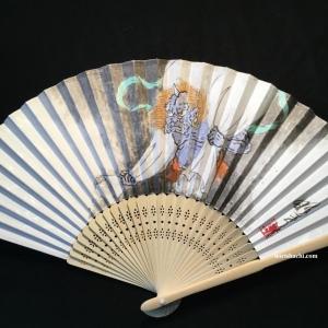 """肉筆扇子 風神 hand painted """"fujin"""" fan"""