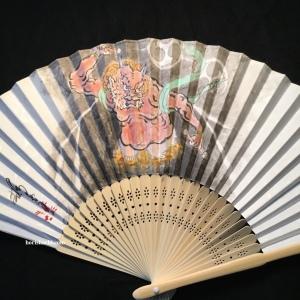 """肉筆扇子 雷神 hand painted """"raijin"""" fan"""