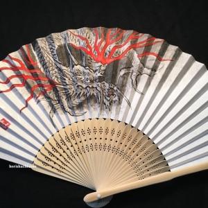 """肉筆扇子 龍 hand painted """"ryu"""" fan"""