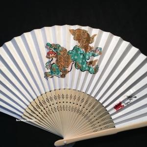"""肉筆扇子 唐獅子 hand painted """"karajishi""""fan"""