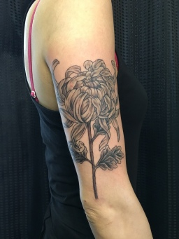 菊 手彫り Kiku Chrisanthemum tattoo by hand poke tebori
