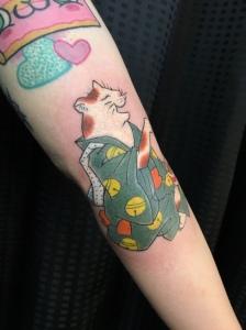 猫 手彫り cat tattoo by hand poke Tebori